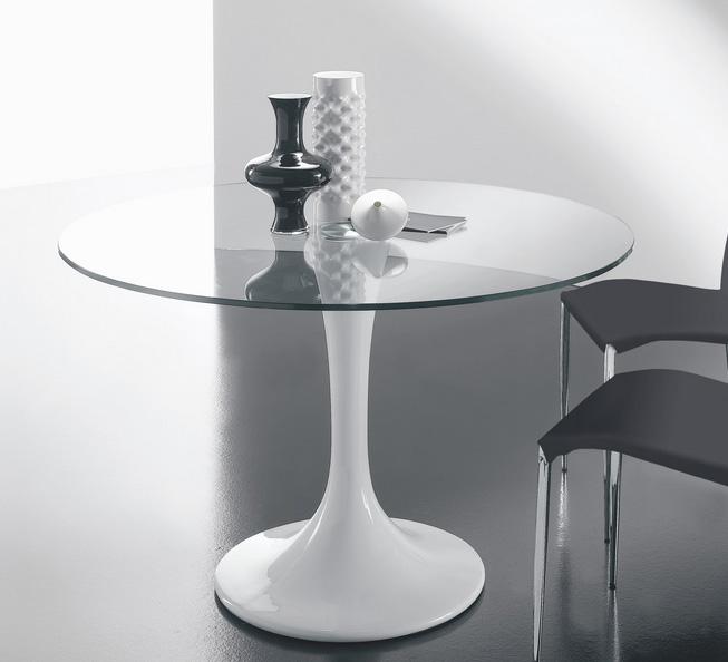 Mesa de comedor redonda u ovalada cristal templado - Mesa redonda de cristal ...