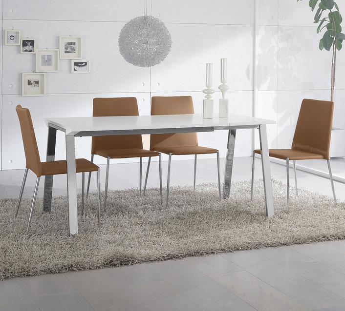 juego de comedor mesa minimalista sillas cromadas