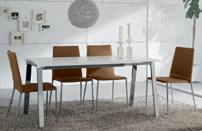 Juego comedor mesa extensible minimalista - Sillas estructura de metal revestimiento ecopiel