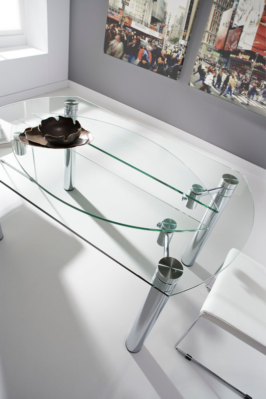 Mesa de cristal redonda extensible mesas de comedor - Mesa redonda de cristal ...