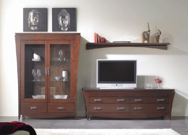 Juego de muebles para sal n de madera - Muebles bajos para salon ...