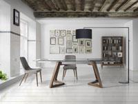 Mesa Enzo - Mesa de comedor extensible Enzo, tope de cristal, patas de madera