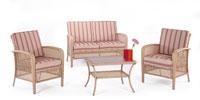 Set de sofá de exterior 2 plazas y dos sillones, mesa, cojines modelo AMSTERDAM