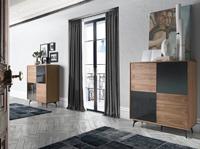 Aparador Urban Deco 1403-I - Aparador de madera chapada en nogal con frontales de nogal y espejo gris