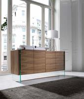 Aparador Urban Deco MI1319-A - Aparador de madera chapada en nogal con laterales de cristal templado