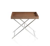 Mesa rinconera LE543  - Mesita de rinc�n en madera chapada de nogal y base de acero inoxidable