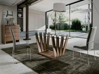 Mesa de comedor Nature Life MI-1358 - Mesa de comedor con base de madera chapada en nogal