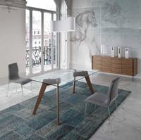 Mesa de comedor con tope de cristal W1008DT  - Mesa de comedor con patas de madera chapadas en nogal