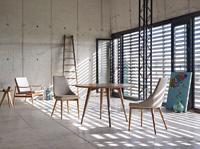 Mesa de comedor redonda DT601 - Mesa de comedor de madera chapada en nogal dt601