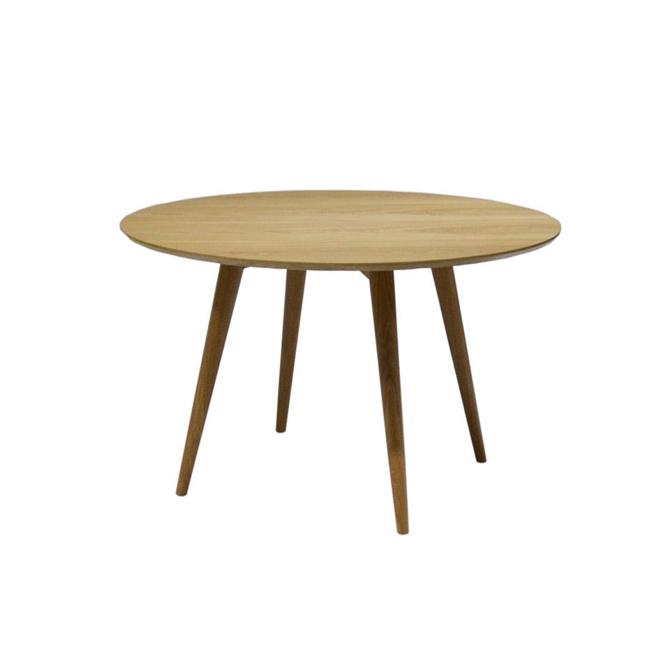 Mesa de comedor redonda en madera chapada de nogal dt601 for Mesa rinconera comedor