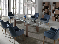 Mesa de comedor extensible Nature Life DT638B - Mesa de comedor extensible con tapa de cristal templado y patas chapadas en nogal