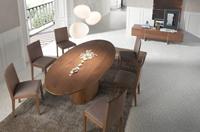 Mesa de comedor Urban Deco LE015 - Mesa de comedor ovalada de madera chapada en nogal