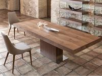 Mesa de comedor extensible Nature Life LE025 - Mesa de comedor extensible con tapa de cristal templado y patas chapadas en nogal