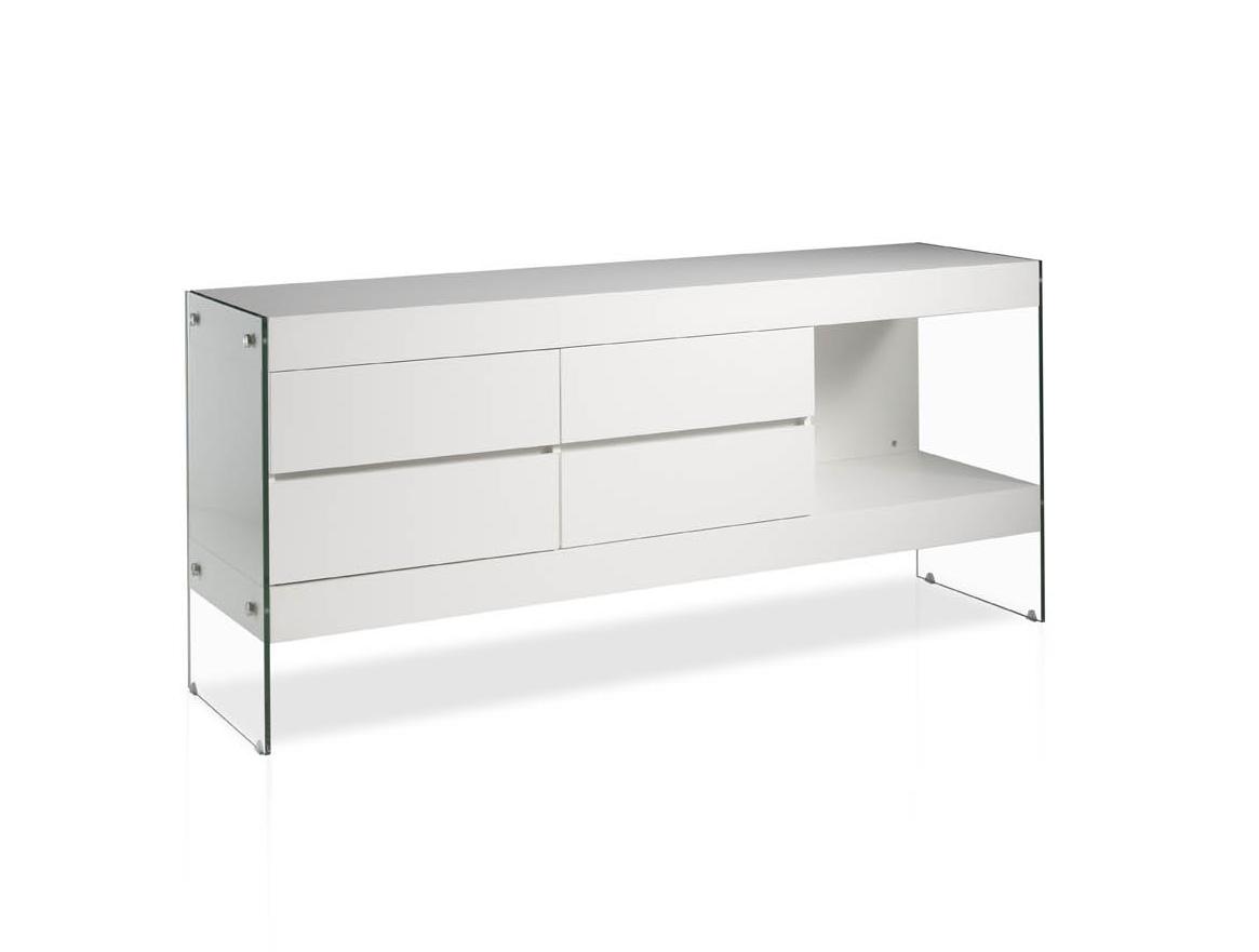 Aparador Blanco Lacado ~ Aparador lacado blanco moderno cristal