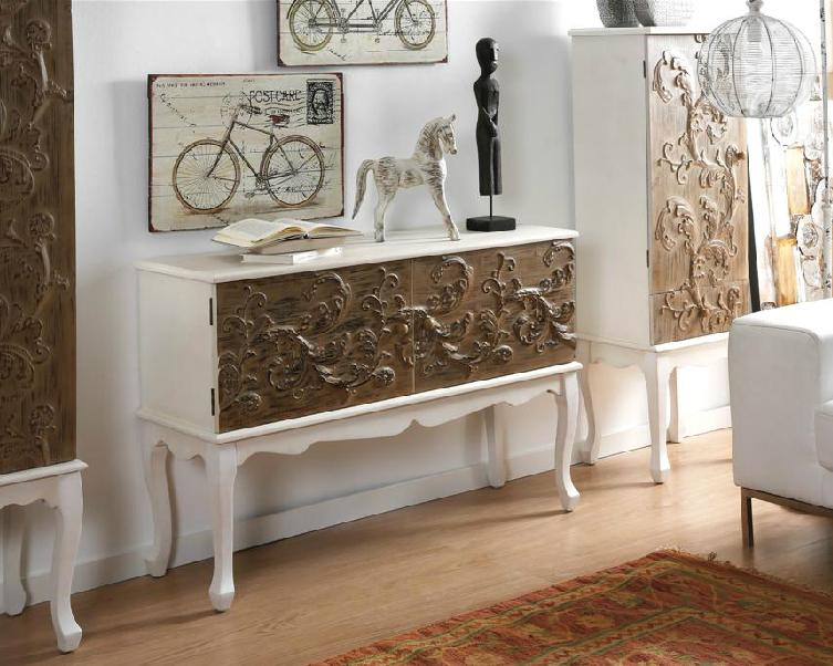 Aparador colonial lacado blanco y madera - Armario madera blanco ...