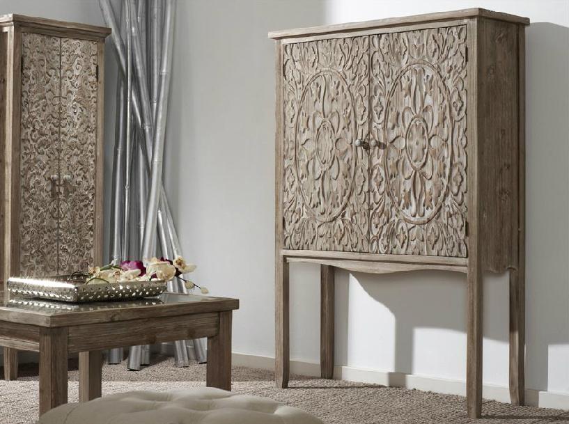 Mia home armario de madera natural tallada barcelona vigo for Armario madera natural