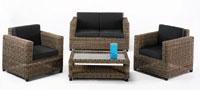 Set de sofá de exterior 2 plazas y dos sillones, mesa cojines negros modelo ASTORGA