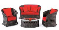 Set de sofá de exterior 2 plazas y sillones, mesa, cojines modelo ASTORIA