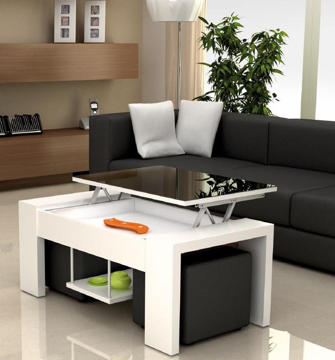 Mesa de centro con tablero elevable y puffs dos versiones - Mesas bajas de salon ...