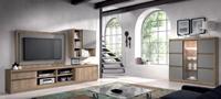 Sal�n moderno 2904 colecci�n KAY - Muebles de sal�n 2904 colecci�n KAY, Ambiente con muebles realizados en color Acacia combinado con detalles color Gris Pardo