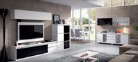 Sal�n moderno 2908 colecci�n KAY - Muebles de sal�n 2908 colecci�n KAY, Composici�n de muebles con panel TV que combina a la perfecci�n el acabado color Blanco con el cristal Negro
