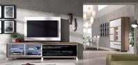 Sal�n moderno 2909 colecci�n KAY - Mueble de sal�n 2909 colecci�n KAY, Mueble para la Televisi�n con patas met�licas con huecos para los equipos multimedia, y Aparador Vitrina con iluminaci�n LED incorporada dentro del mueble