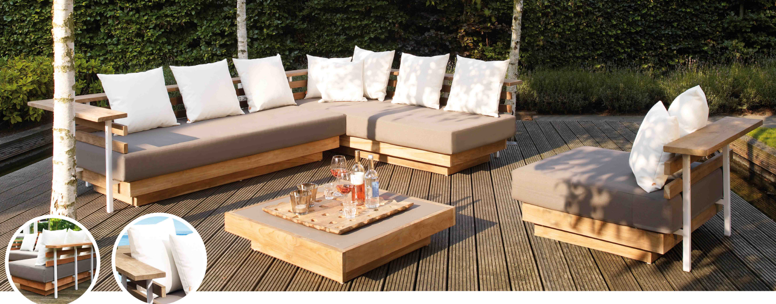 Mia home set de sof para exterior en rattan london for Sofa rinconera exterior