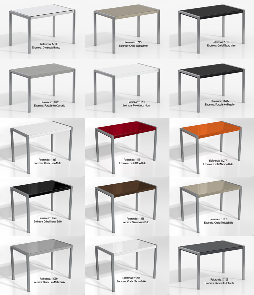 Mesas de cocina extensibles de colores for Mesas para cocinas modernas