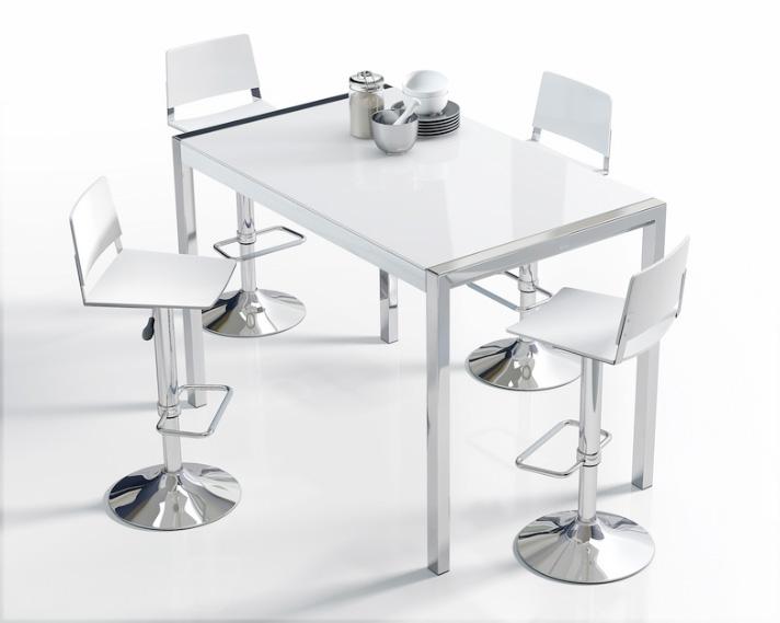 Mesas de cocina extensibles de colores for Mesa barra cocina