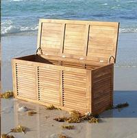 Baul o caja de cojines de teca para exterior