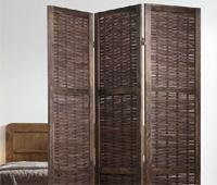 Biombo marrón o decapado de madera y bambú - Biombo marrón de madera y bambú