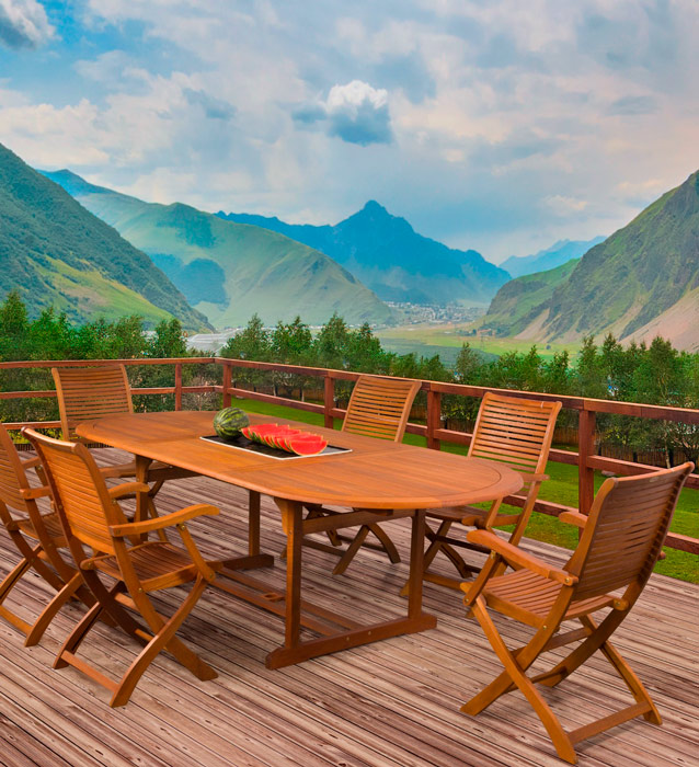 Juego comedor madera para jard n for Mesas y sillas de jardin para exterior