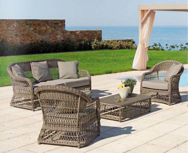 Juego sof sillones y mesa baja exteriores aluminio polirattan for Sofa exterior plegable
