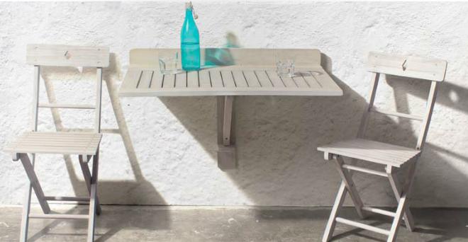 tavoli pieghevoli terrazzo : Mesa de pared con cierre madera Acacia