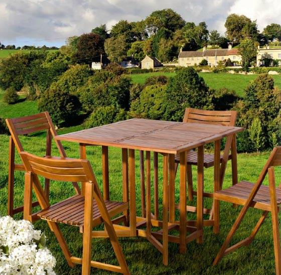 Juego comedor madera de acacia 5 personas for Sillas comedor jardin