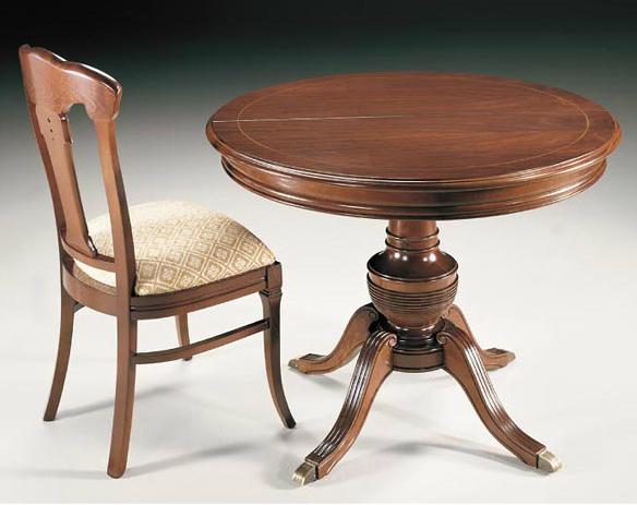Mesa comedor redonda extensible chapa de cerezo o roble - Mesa comedor pequena extensible ...
