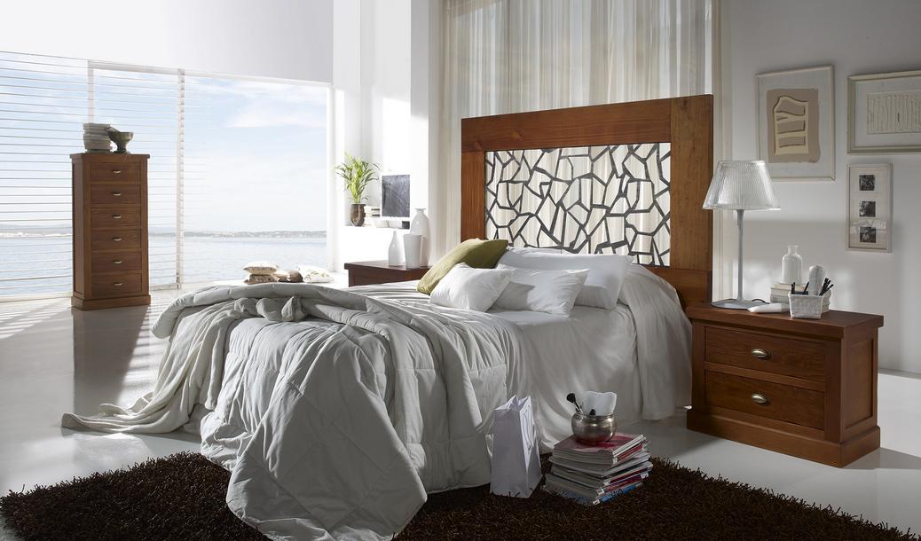Cabecero madera tapizado marqueter a o forja som79 - Cabeceros rusticos de madera ...