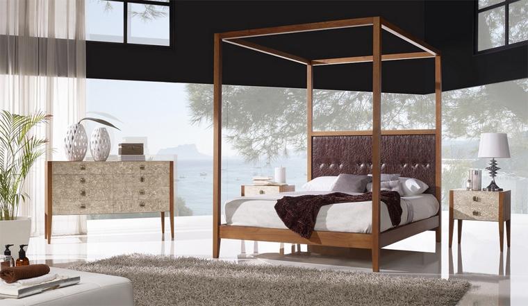 Cama con dosel de madera dormitorio pamplona - Cama con dosel ...