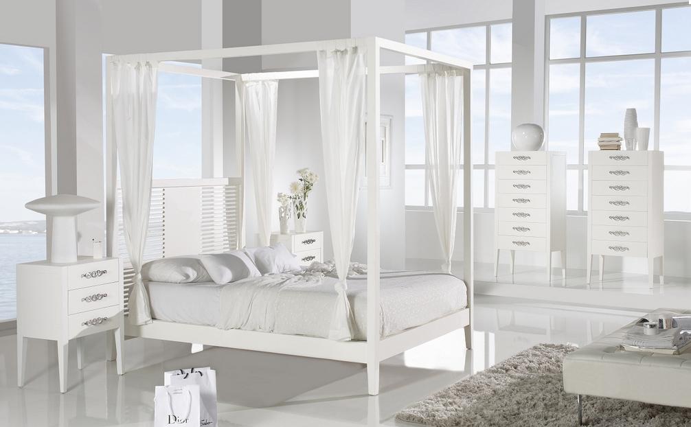 Cama con dosel de madera som52 cabeceros camas y mesillas - Cama dosel madera ...