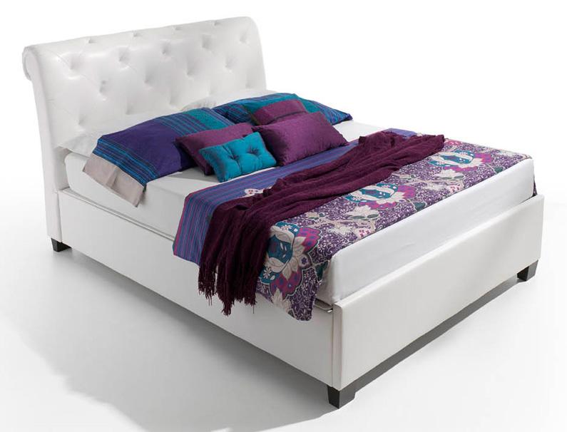 Cama con canap polipiel blanca cabeceros camas y mesillas for Canape para cama