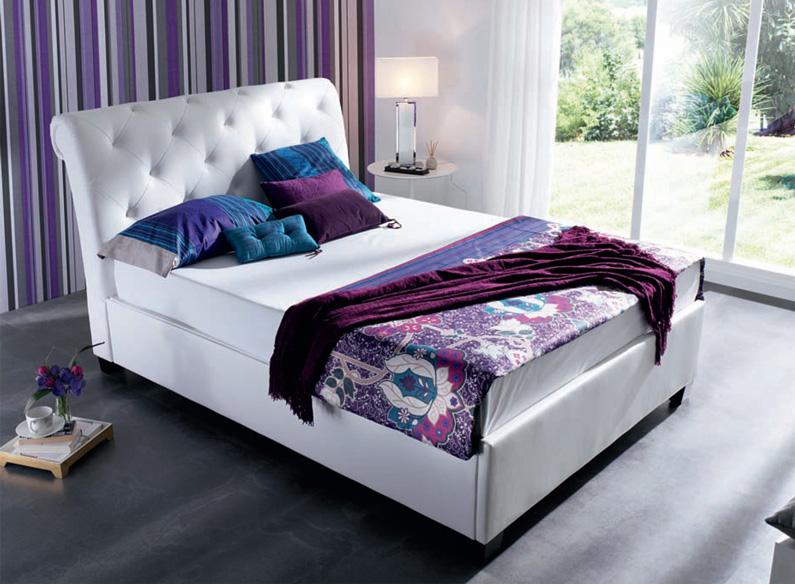 Cama con canap polipiel blanca cabeceros camas y mesillas - Camas y canapes ...