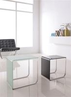 Mesa nido de acero - Mesas auxiliares nido - 2 -, cristal curvado, acero inoxidable, acabado blanco - negro
