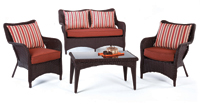 Set de sofá de exterior 2 plazas y sillones, mesa, cojines modelo CARIOCA