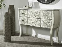 C�moda de madera natural tallada blanco roto - C�moda de madera o entrada de madera tallada Blanco roto