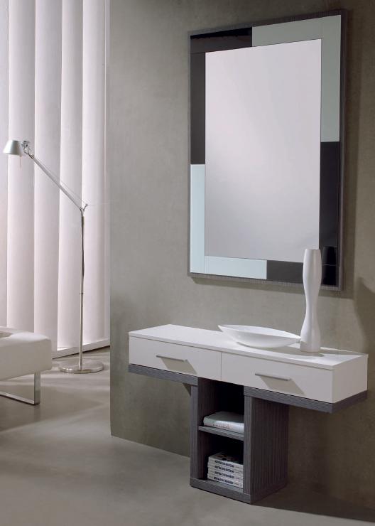 Recibidor con espejo 8 consolas y entradas muebles de for Zapatero 60 cm ancho