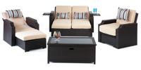 Set de sofá de exterior 2 plazas y sillones, mesa, cojines modelo CONDOR