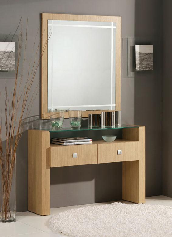 Consola y espejos madera roble 3 consolas y entradas - Rinconeras de madera ...