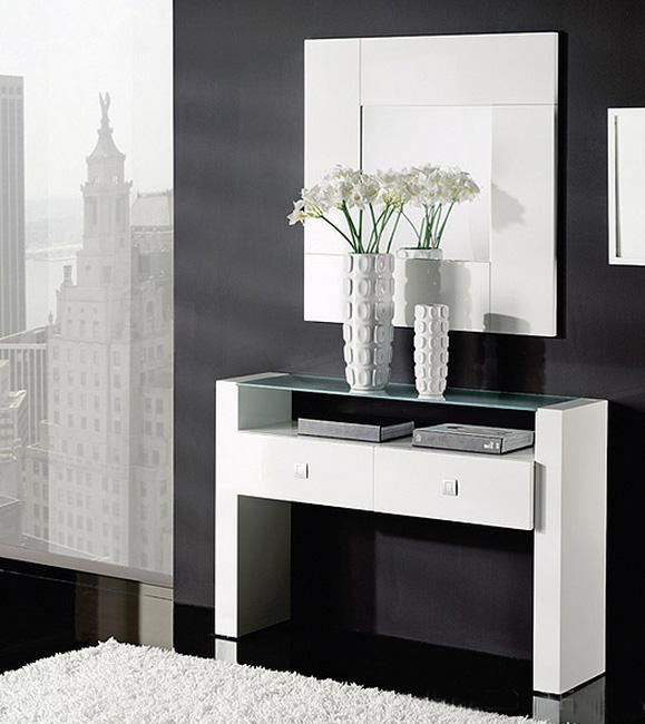 Consola y espejos madera roble 3 consolas y entradas for Espejos de pared madera