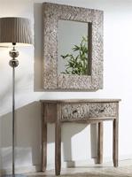 Consola o espejo de madera tallada natural - Espejo rectangular de madera tallada
