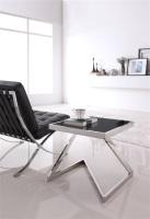 Mesa cuadrada multiusos - Mesa de dise�o, acero inoxidable, tapa con marco, cristal negro